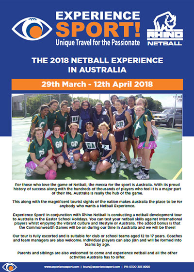 Netball Development Tour to Australia